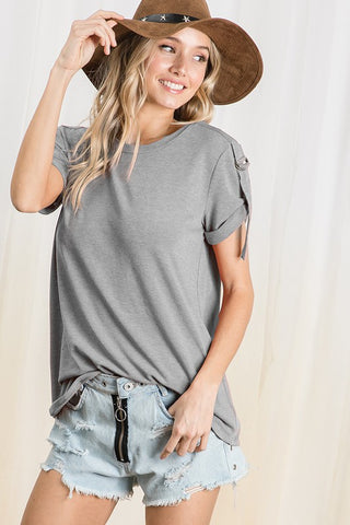 The Nikki Knit Top in Gray
