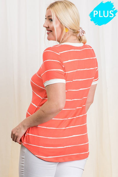 The Nora Stripe Knit Top in Coral