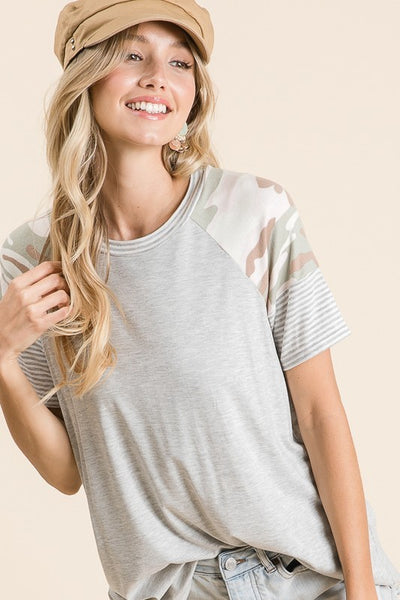 The Blakely Camo Contrast Top