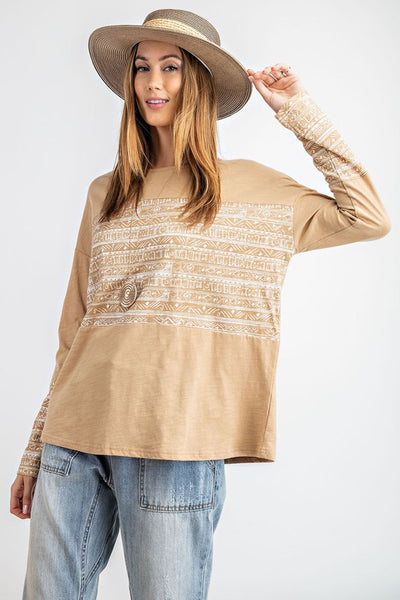 The Kinley Mixed Print Top in Taupe