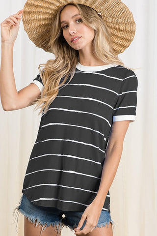 The Nora Stripe Knit Top in Black