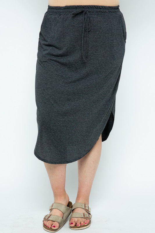 The Cosette Knit Skirt in Charcoal