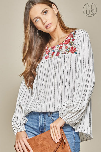 The Bronte Embroidered Top in Ivory Curvy