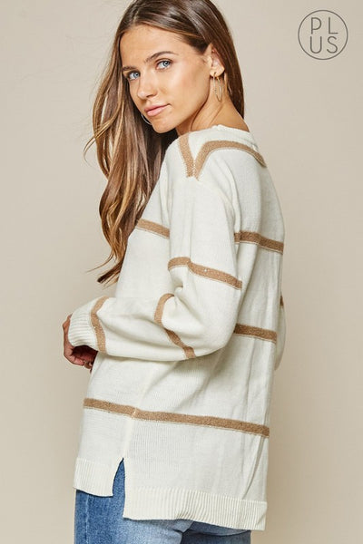 The Coco Stripe Sweater In Ivory/Taupe Curvy