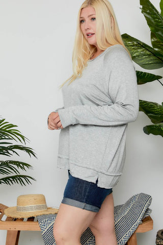 The Kami Boat Neck Top in Gray
