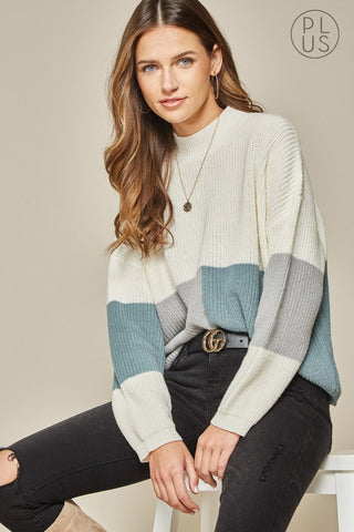 The Faye Color Block Sweater Curvy