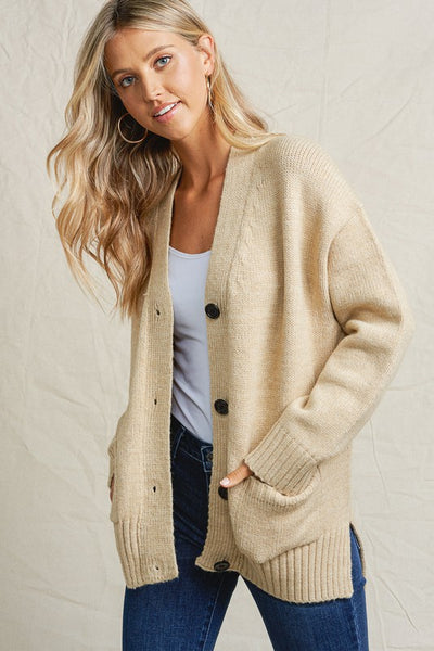 The Lark Slouchy Cardigan in Oatmeal