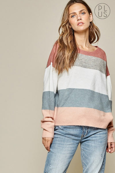 The Monroe Color Block Sweater Curvy