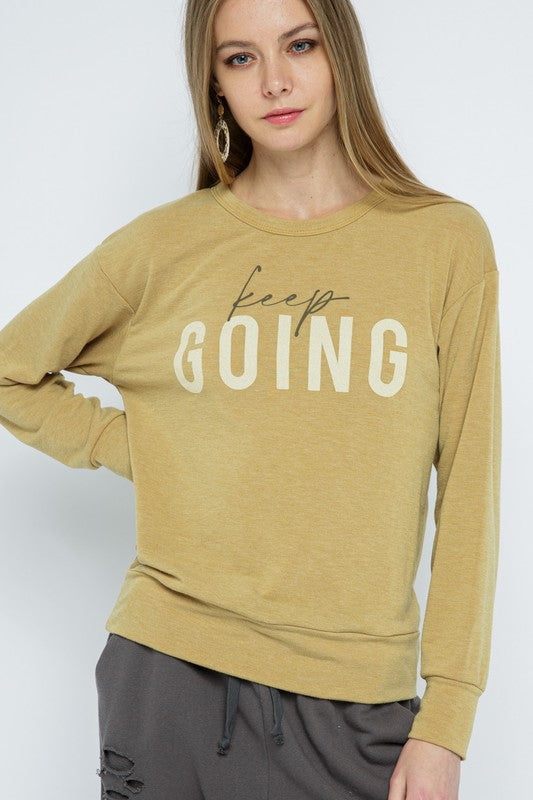 Keep Going Knit Top in Honey Mustard