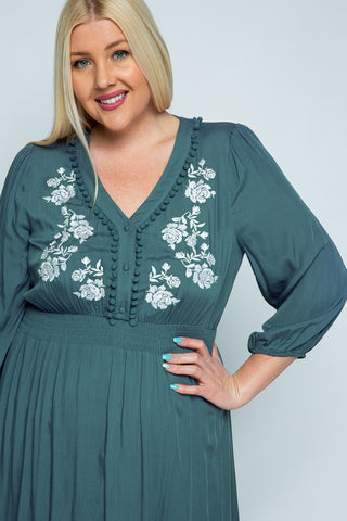 The Emily Embroidered Dress in Teal Curvy