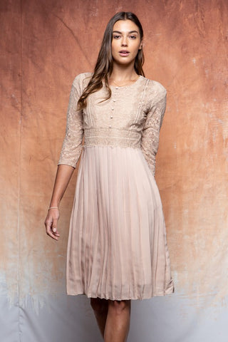 The Linden Lace Pleated Dress in Taupe