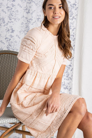 The Simone Lace Dress in Lt Pink