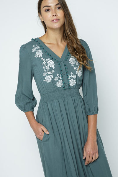 The Emily Embroidered Dress in Teal