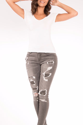 The Mia Destructed Skinny Jean in Storm