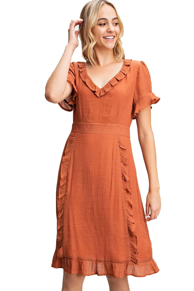 The Indie Ruffled V-Neck Midi Dress in Rust