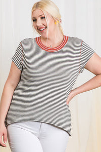 The Presley Textured Stripe Top in Rust