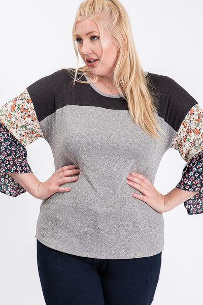 The Luna Contrast Tiered Sleeve Top in Gray
