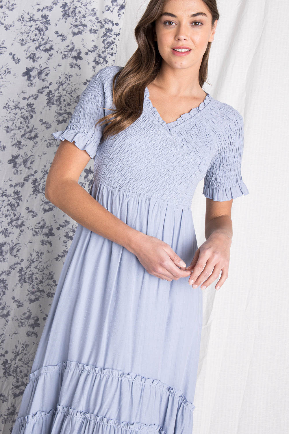 The Lia Smocked Dress in Baby Blue