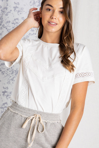The Cala Lace Trim Top in Ivory