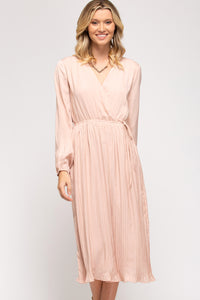 The Skye Surplice Pleated Dress in Blush