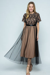 The Harper Tulle Lace Maxi Dress in Black