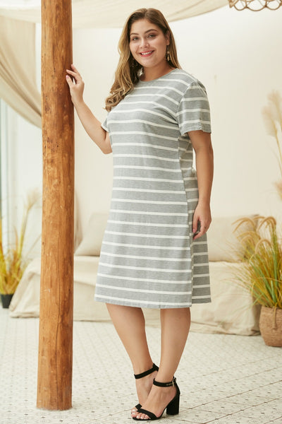 The Laney Striped T-Shirt Dress in Gray