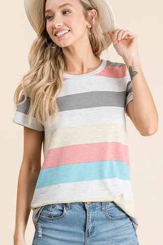 The Izzy Stripe Top in Multi