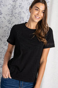 The Cala Lace Trim Top in Black