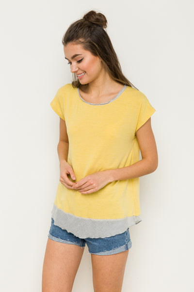 The Lexi Muscle Tee In Butter Yellow