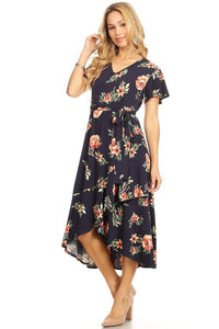 The Grace Floral Wrap Dress in Navy