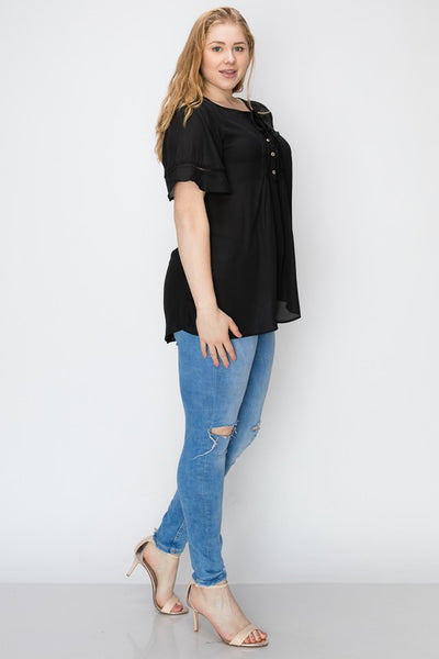 The Annabelle Ruffled Top in Black