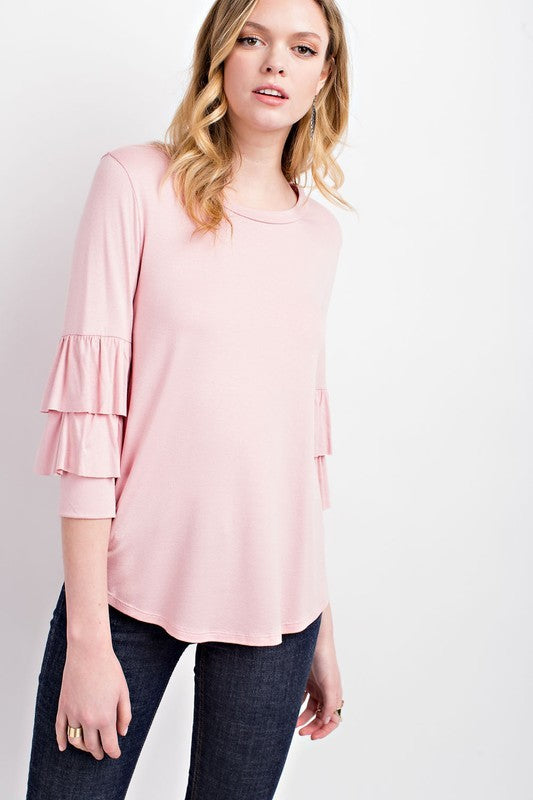 The Lola 3/4 Ruffled Bell Sleeve Blouse in Dusty Pink