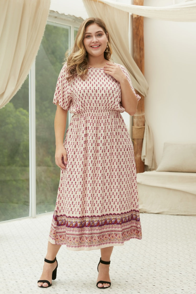 The Abby Boho Chic Maxi Dress in Pink