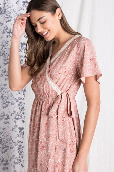 The Addie Wrap Dress in Dusty Rose