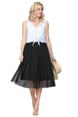 The Gwyneth Tulle Polka Dot Skirt in Black