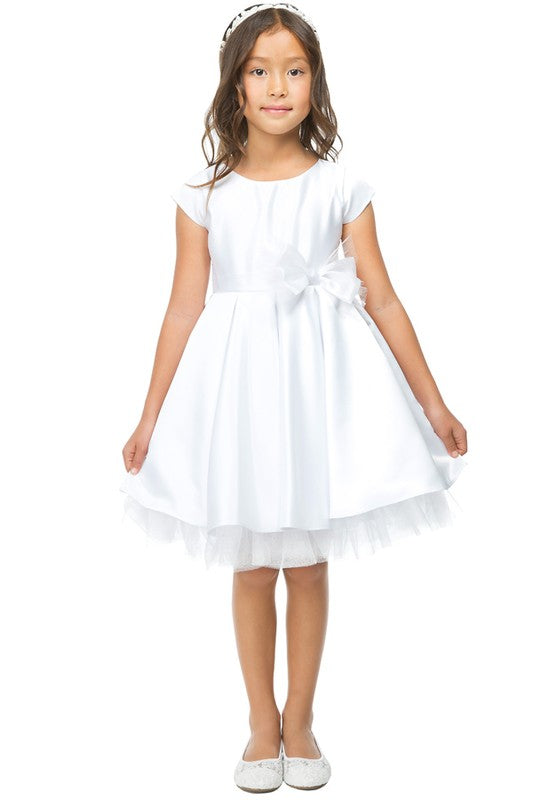 The Aubrey Satin and Tulle Dress in White