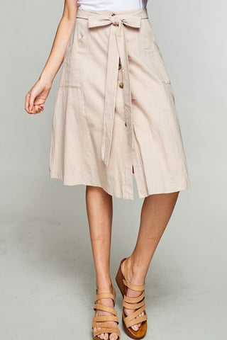 The Zoey Button Down Skirt in Taupe