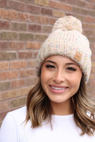 Fleece Lined Cream Speckled Beanie