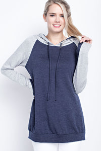 The Blake Thumb Hole Hoodie in Navy/Heather Gray