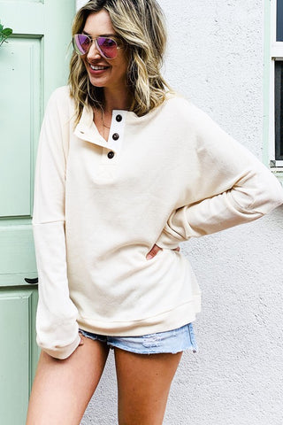 The Mimi Button Knit Top in Cream