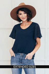 The Carly Swiss Dot Top in Navy