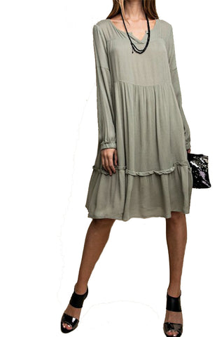 The Huntley Tiered Tunic Dress in Sage