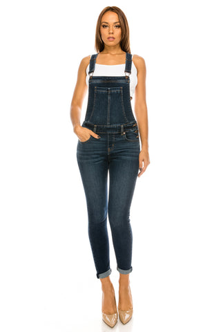Soft Slim Fit Denim Overalls with Straps - Dark Wash