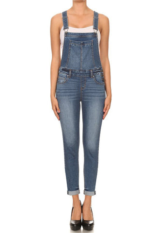 Soft Slim Fit Denim Overalls with Straps