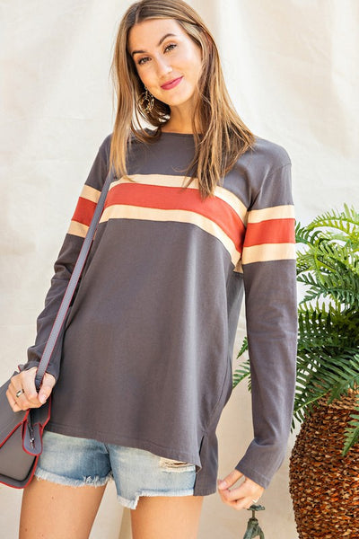 The Hunter Varsity Striped Top in Smoke