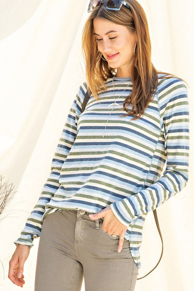 The Jane Long Sleeve Stripe Tee in Blue