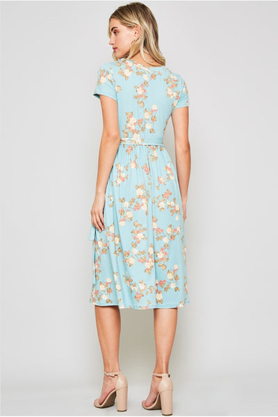 The Chloe Cross Over Floral Dress in Turquoise