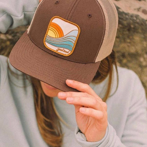 Last Wave Trucker Hat in Beige Brown
