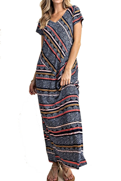 The Hadley Striped Maxi in Navy/Coral