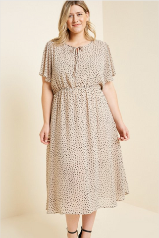 The Randi Dotted Swing Dress in Tan